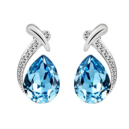 T400 Blue Waterdrop Crystal Pendant Necklace & Stud Earrings Jewelry Set Birthday Gift for Women Gir - http://coolthings.us