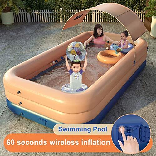 Elektrischer kabelloser selbstaufblasbarer Pool, batteriebetriebene eingebaute Mini-Poolpumpe Automatischer aufblasbarer Pool mit einem Knopf und Sonnenschutz für Kinder Erwachsene Familie