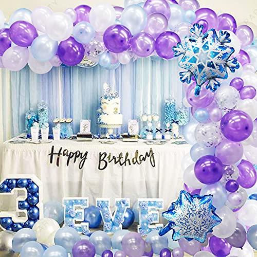 Frozen Birthday Party Supplies, 130PCS Purple Blue Frozen Balloon Arch Garland Kit for Frozen 2 Elsa Themed Birthday Party Decorations, Winter Wonderland Snowflake Party Decorations