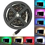 LED テープライト SMD 5050 RGB LEDテープ USB LEDライトバー 正面発光 1 M 60led 5V 防水ledテープ、広く 展示会、 舞台、 広告欄、 屋外活動、 テレビ、 衣装DIY、 夜市照明、 キャンプ、 コンピュータケースランプ、ブラック
