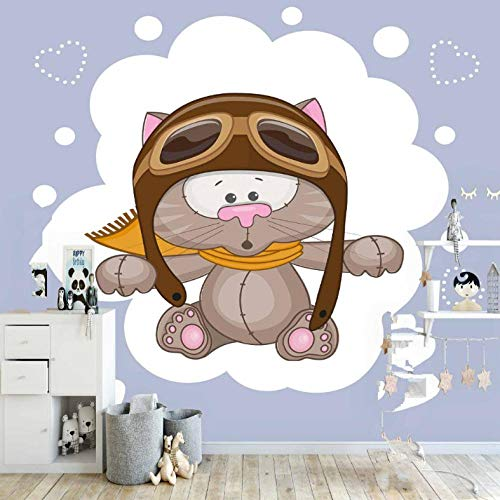 Pbbzl Piloto schattige kat grijze harten wit gestippeld dieren 3D-druk Cartoon stof afwasbaar muur kinderkamer achtergrond behang 400 x 280 cm
