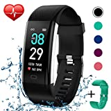 KITPIPI Fitness Tracker Activity Tracker Watch with Heart Rate Monitor, Pedometer Waterproof Smart Watch Sleep Monitor, Step Counter, Calorie Counter, for Kids Women and Men (Green+Black)
