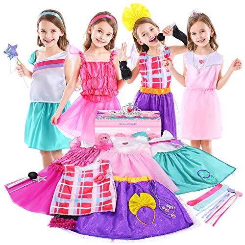 Jeowoqao Girls Dress up Trunk Princess Pretend Play Costumes Set 28 Pcs, Ballerina, Superstar, Princess, Fairy Costume, Kids Role Play Costume Set for Little Girls Ages 3-6