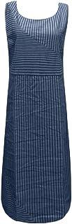 女性カジュアルストライプノースリーブワンピースクルーネックリネンロングドレス 分割ドレス ワンピース チュニック スカート