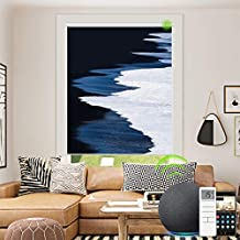 Motorized Roller Shades with Pictures, Blackout Alexa Window Blinds Customized Size and Photo, Rechargeable Smart Motor Electric Blinds with Remote for Windows (Sea Printed)