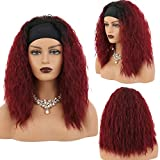 SHUOHAN 18'' Long Curly Wave Headband Wigs for Black Women Black to Wine Red Color Synthetic Hair band Wig Half Wigs with Head Band as Gift