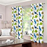 LLWERSJ Eyelet Blackout Curtains for Boys Girls Cartoon dinosaur Window Curtains Thermal Insulated Printed Polyester Microfibre Childrens Nursery living room Bedroom 75x166cm x 2 pcs