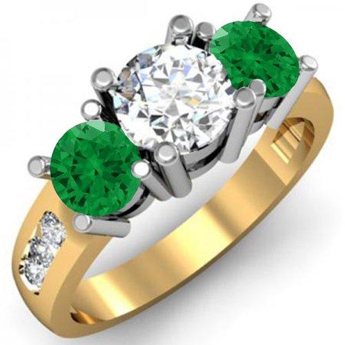 Dazzlingrock Collection Anillo de compromiso de novia de oro de 14 quilates, esmeralda verde y diamante blanco redondo de 3 piedras