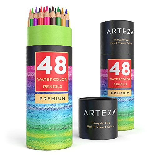 Arteza Watercolor Pencils Set of 48, Presharpened, Triangular-Shaped Colored Pencils for Adults and Kids, For Drawing, Sketching, and Painting