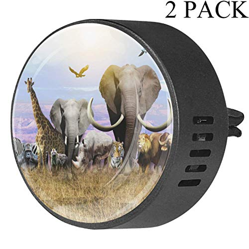 Josid Africa Animals Giraffe Elephant Car Diffuser Vent Clip- 2PCS Aromatherapy Essential Oil Diffuser Air Freshener Vent Clip Locket for Car, Office, Bathroom, Kitchen