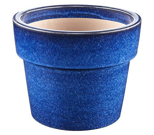 Dehner Blumentopf, rund, Ø ca. 29 cm, Höhe ca. 23 cm, Keramik, glasiert, blau
