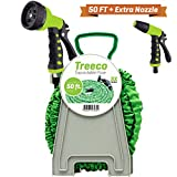Treeco Expandable Garden Water Hose kit 50 ft Kink-Free Triple Latex. Lightweight & Heavy Duty Flexible Collapsible with Nozzle Sprayer & Gun Set with Reel