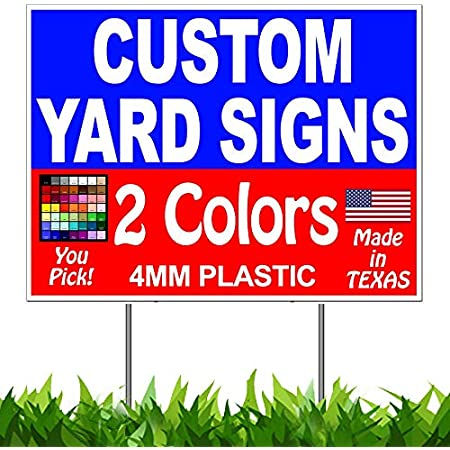 Stakes 5 18x24 Full Color Yard Signs Custom 2-Sided
