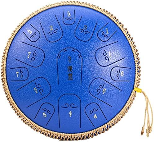 Decoración del hogar 15 notas 14 pulgadas Instrumento de percusión Tambor Mini tanque Tambor de tambor Fácil de aprender con varitas de meditación Camping Yoga Fabricado en EE. UU. (Color: Amarillo