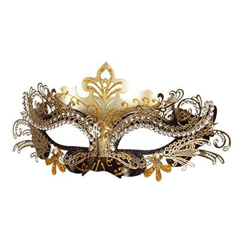 Máscara de filigrana de metal negro y oro mascarada Accesorios Carnaval de Venecia