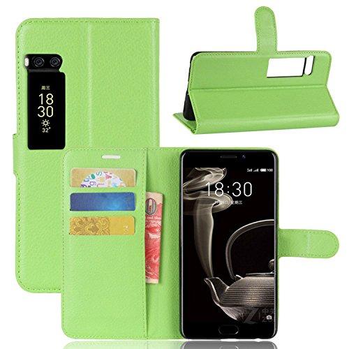 Ycloud Tasche für MeiZu Pro 7 Plus Hülle, PU Kunstleder Ledertasche Flip Cover Wallet Case Handyhülle mit Stand Function Credit Card Slots Bookstyle Purse Design grün
