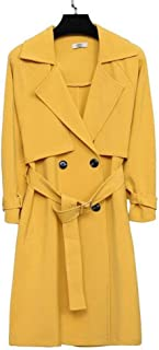 Women's Coats Polyester long trench coat Double-breasted tie with solid color coat Lapel black yellow jacket