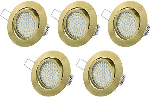 Ultra Flach LED Einbaustrahler Tolles Design Warmweiß 3.5W 230V Schwenkbar Einbauspots Einbauleuchten(5-er set)