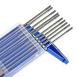 Wilktop 10 x Elettrodi di Tungsteno, WC-20 Elettrodi di Tungsteno 2,4Ø x 175mm Aghi di Tungsteno per Saldatura TIG (Grigio)