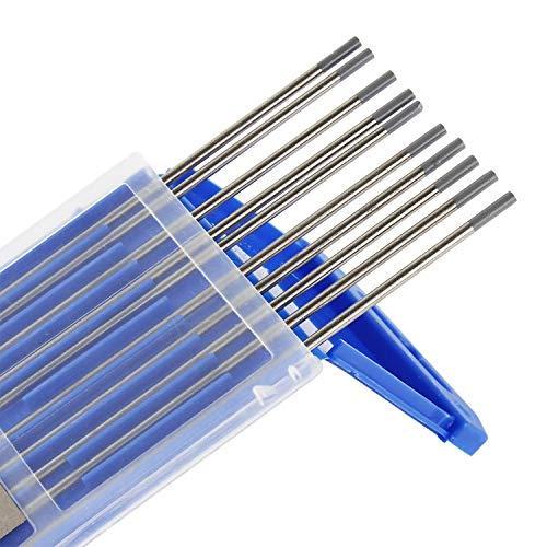 Wilktop 10 x Electrodos de Tungsteno, WC-20 Electrodos de Tungsteno 2.4Ø x 175mm Agujas de tungsteno para Soldadura TIG (Gris)