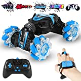 Gesture Sensing RC Stunt Car for Boys with Light & Music, 4WD Off Road Vehicle Truck, Double Sided 360° Rotating 2.4GHz Remote Control Car Toy for Kids Age 6+, Birthday Gift Blue