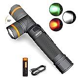 NICRON LED Taschenlampe Jaged USB Aufladbar 800 Lumen, Drehbar Kopf, IP65 Wasserdicht, Weiß Rotlicht Grün Licht, Outdoor Camping Handlampe mit Magnet, 18650 Batterie B70