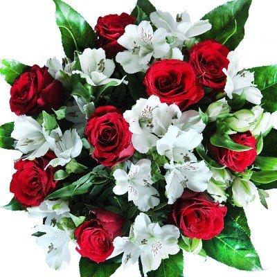 Rote Rosen Blumenstrauß mit weißen Alstromerien - Inklusive Grußkarte!