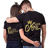 NIMAMA King Queen Pärche Shirts für Paar Partner Look T-Shirt Velentienstag Geschenk Tops Paare Baumwolle mit Aufdruck 1 Stück M Schwarz-2-king