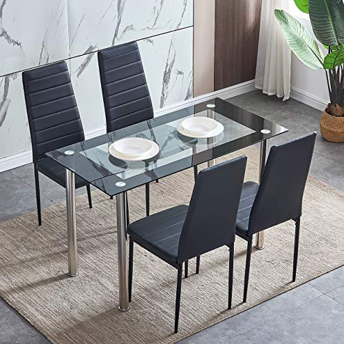 HomeSailing Contemporary Black Glass Dining Room Table with 4 Chairs Set, 5 Pieces Kitchen Glass Tempered Table and 4 Faux Leather Chairs Set Black for Small Apartment 4 People Usage