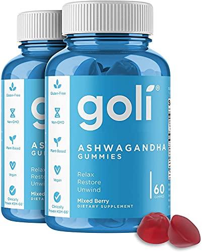 ASHWA Vitamin Gummy by Goli Ashwagandha and Vitamin D Gummies - Relax. Restore. Unwind. (Mixed Berry, KSM-66, Vegan, Plant Based, Non-GMO, Gluten-Free & Gelatin Free - 2 Pack 120 Count)