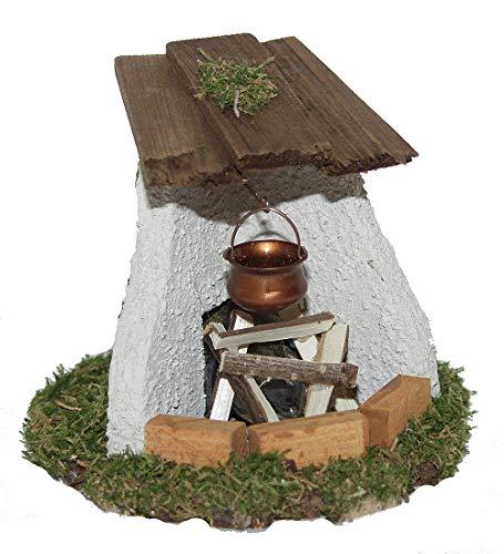 CV Gemauerter Feuer-Ofen Kamin beleuchtet und Kessel für Weihnachtskrippe Krippen-Zubehör Krippen-Stall