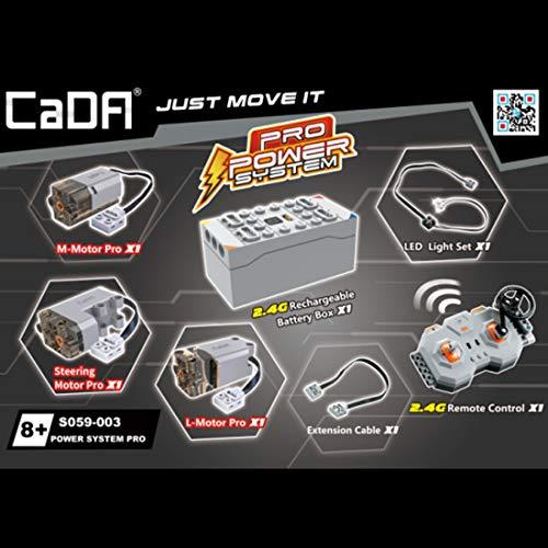 ReallyPow Juego de funciones de potencia para coches de tecnología técnica, con motor de 1 l, motor de 1 m, 1 servo, 1 caja de pilas, 1 juego de iluminación LED, 1 mando a distancia de 2,4 G.