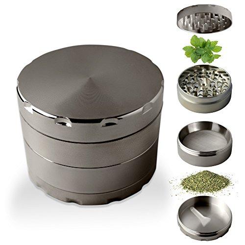 Picador con Filtro de Polen para Especias y Tabaco Gran Calidad | Molinillo de Especias tritura y trocea Cereales Café Hierbas Hierba (Plata Negro)