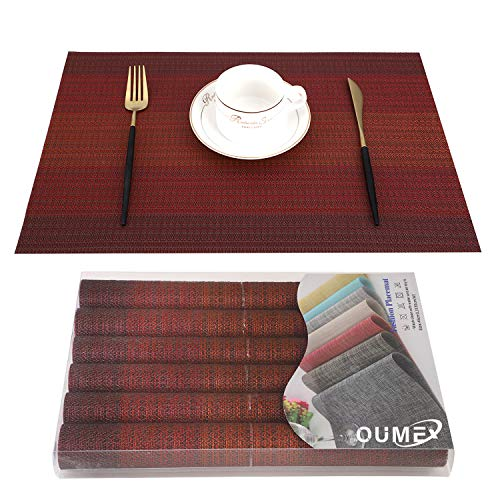 OUME Tischsets Abwischbar 6er Set Platzset Abwaschbar PVC rutschfest Abgrifffeste Hitzebeständig Platzdeckchen für Zuhause Restaurant, 30 x 45cm