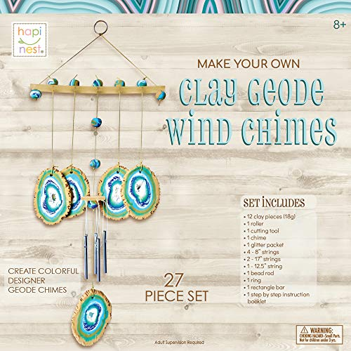 Hapinest Make Your Own Clay Geode Wind Chime Craft Kit Gift for Girls Boys Ages 8 9 10 11 12 and Teen Years and up