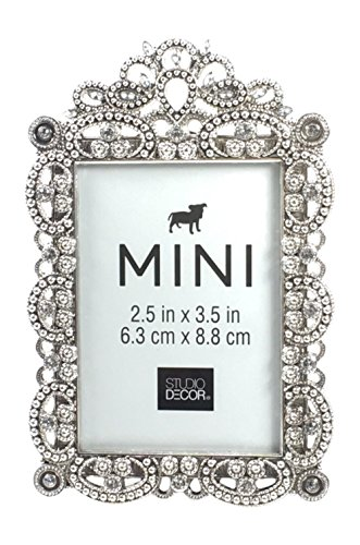 Bejeweled Silver Tone Metal Mini Picture Frame, 2.5' x 3.5'