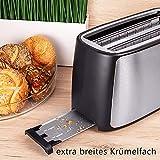TZS First Austria – gebürsteter Edelstahl 4 Scheiben Toaster 1500W mit Krümelschublade Sandwich Langschlitz   abnehmbarer Brötchenaufsatz   wärmeisoliertes Gehäuse, stufenlose Temperatureinstellung - 5