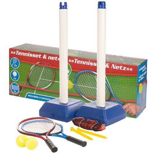 BAKAJI Set da Tennis 5 PZ Rete + Palline e Racchette da Gioco 300x45 Sport Accessori