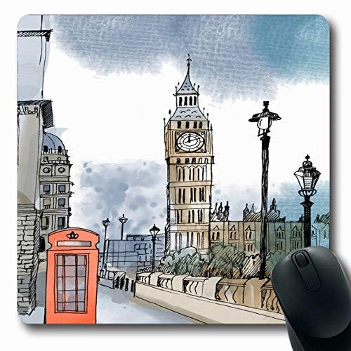 Jamron Mousepad Oblong 7.9x9.8 Inches Design Textures Red Sketch City Watercolor London Travel Kingdom Ben Big Bridge Britain England Non-Slip Rubber Mouse Pad Office Computer Laptop Games Mat