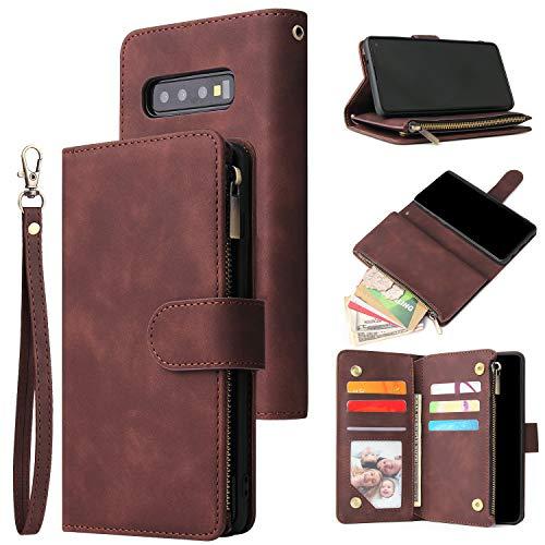 UEEBAI Handyhülle für Samsung Galaxy S10, Retro Reißverschluss Hülle Premium PU Leder Weich TPU Klapphülle Magnetverschluss Kartenfach Standfunktion Geldbörse mit Trageband Schutzhülle - Kaffee