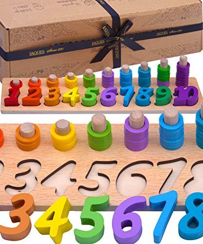 Jaques of London Zählen und Stapeln Montessori Spielzeug | Holz Lernspielzeug für 2 3 4 Jahre | Seit 1795