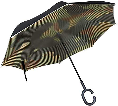 Green And Brown Camo Camoflauge Striped Windproof C-Shaped Handle Windproof UV Proof Travel Outdoor Sun Car Reversible Umbrella