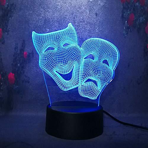 Cartoon Nette 3D Komödie Und Tradegy Maske Led Nachtlicht Farbe Halloween Geschenk Dekoration Lampe Schlafzimmer Lampe Junge
