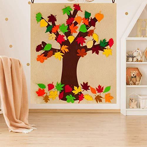 Woorea Tablero de árbol de otoño de Fieltro con 52 Piezas de Hojas de otoño de Arce extraíbles Gracias a los Adornos del Kit de artesanía