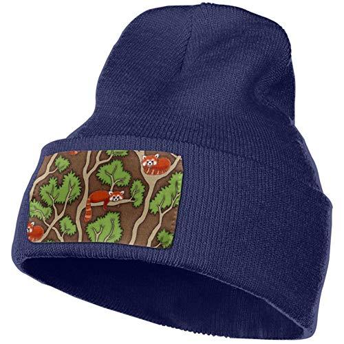 AROVON Sombrero de punto ajustable para mujer, diseño de panda rojo del bosque
