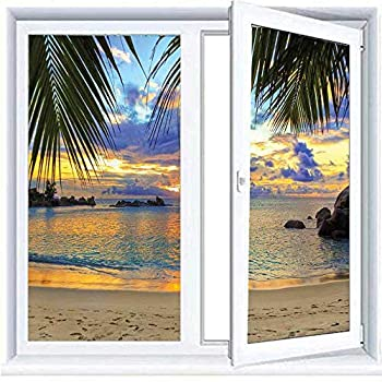 Decorative Glass Sticker Privacy Window Films Coastal Decor,Sunset at Beach Rumbling Ocean Luxurious Resort with Palm Trees Travel Locations Picture 23.6 x78.7  Block Out Light Window Film