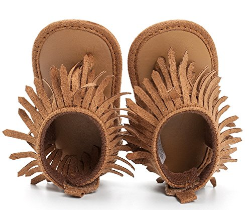 StylesILove Baby Toddler Girl Soft Sole Fringe Sandal Crib Shoes (2/6-12 Months, Brown)
