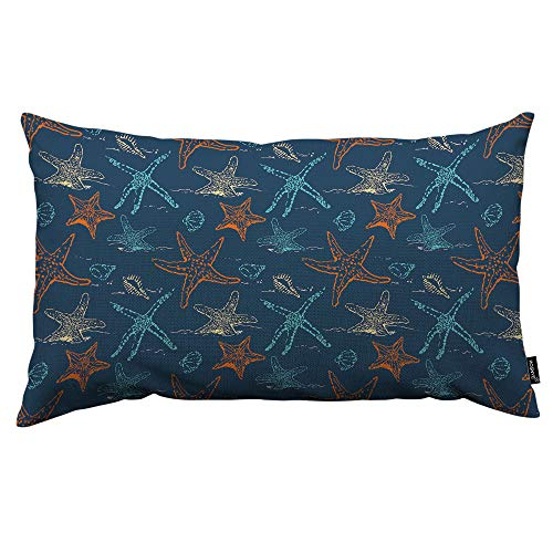 HOSNYE Sea Stars Throw Pillow Cover Seamless Orange and Blue Starfish Pattern On Dark Blue Background Linen Fabric for Couch Bed Sofa Car Waist Cushion Cover 12 x 20 inch Pillow Case