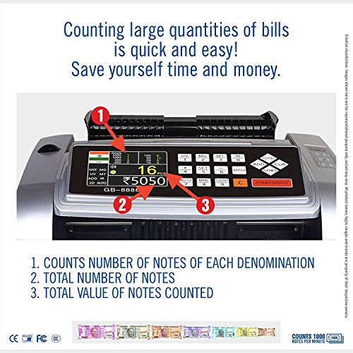 Smars® Mix Note Currency Counting Machine Cash Counter with Fake Note Detection MG UV IR MT DD 3D Colour Detection CDS Main Display Colour TFT with dust Cover for INR USD EUR