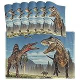 Juego de 6 manteles Individuales de Dinosaurios y pterosaurios, tapetes de Cocina limpios Lavables, Resistentes al Calor, Resistentes al Calor, para la decoración de la Mesa de Comedor